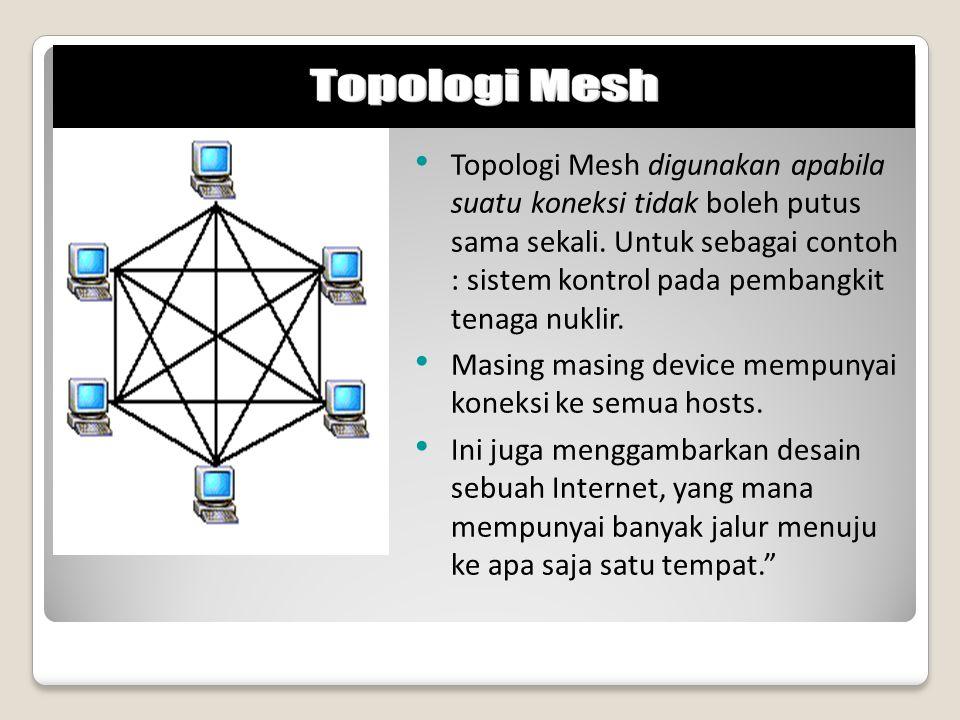 Topologi Mesh digunakan apabila suatu koneksi tidak boleh putus sama sekali. Untuk sebagai contoh : sistem kontrol pada pembangkit tenaga nuklir.