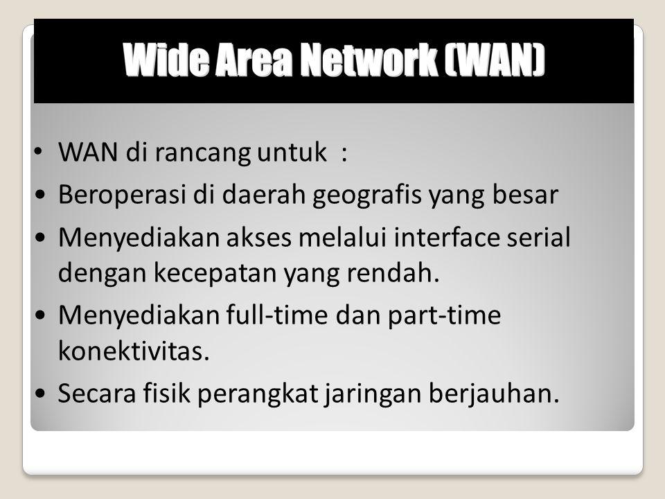 WAN di rancang untuk : Beroperasi di daerah geografis yang besar. Menyediakan akses melalui interface serial dengan kecepatan yang rendah.