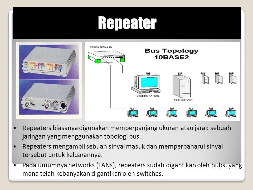 Repeaters biasanya digunakan memperpanjang ukuran atau jarak sebuah jaringan yang menggunakan topologi bus .