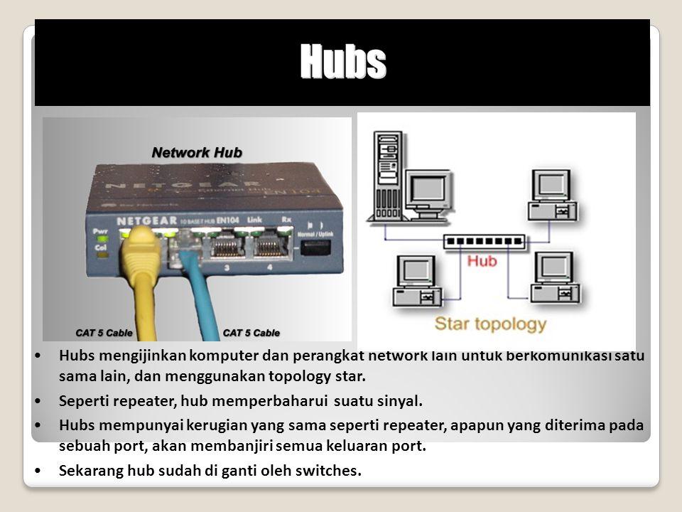 Hubs mengijinkan komputer dan perangkat network lain untuk berkomunikasi satu sama lain, dan menggunakan topology star.