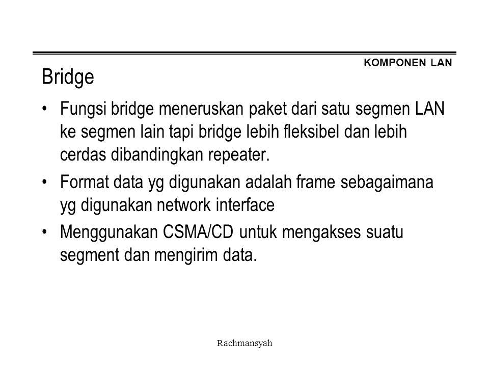 Bridge Fungsi bridge meneruskan paket dari satu segmen LAN ke segmen lain tapi bridge lebih fleksibel dan lebih cerdas dibandingkan repeater.