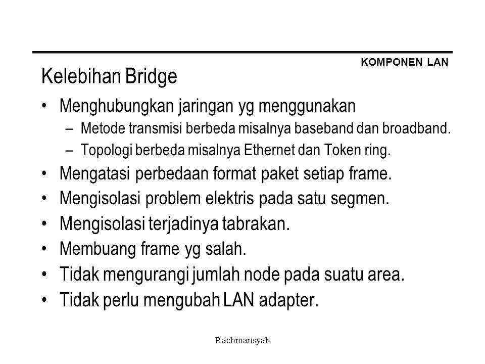 Kelebihan Bridge Mengisolasi terjadinya tabrakan.