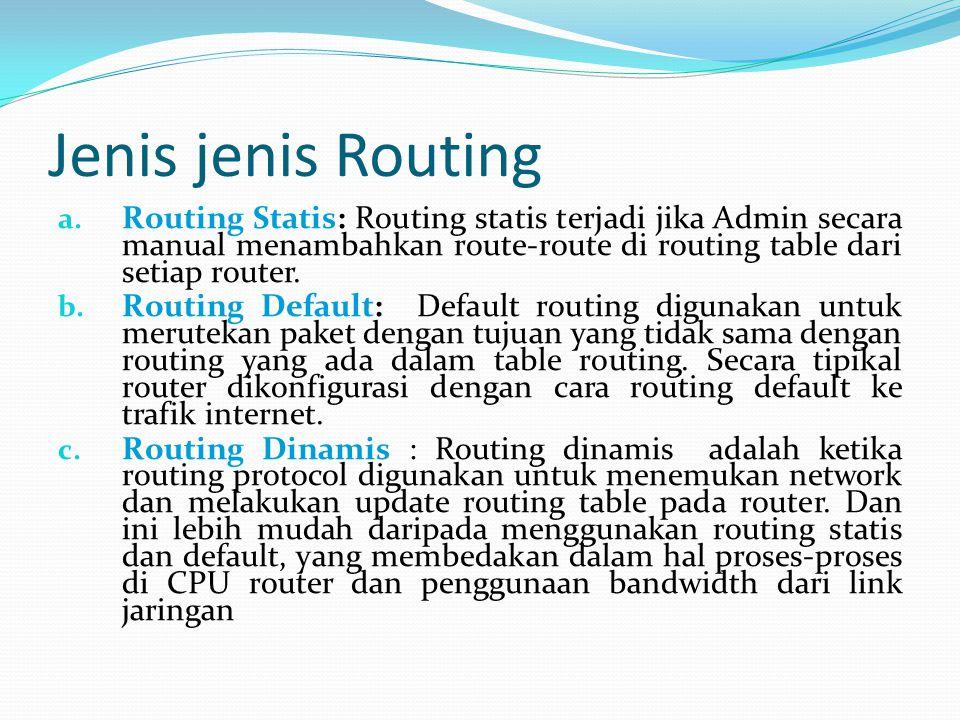 Jenis jenis Routing Routing Statis: Routing statis terjadi jika Admin secara manual menambahkan route-route di routing table dari setiap router.
