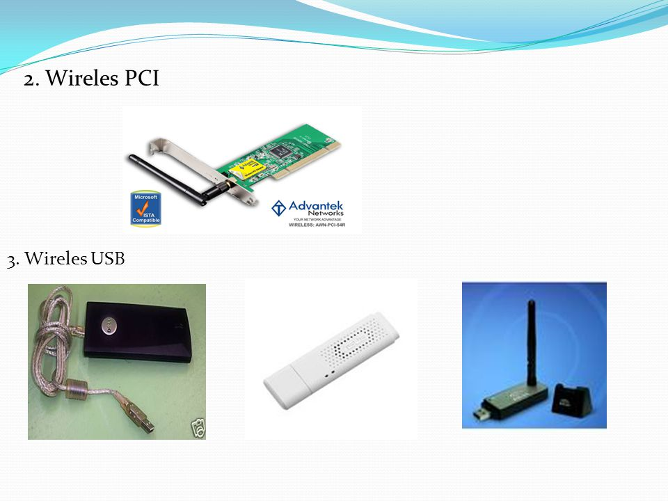 2. Wireles PCI 3. Wireles USB
