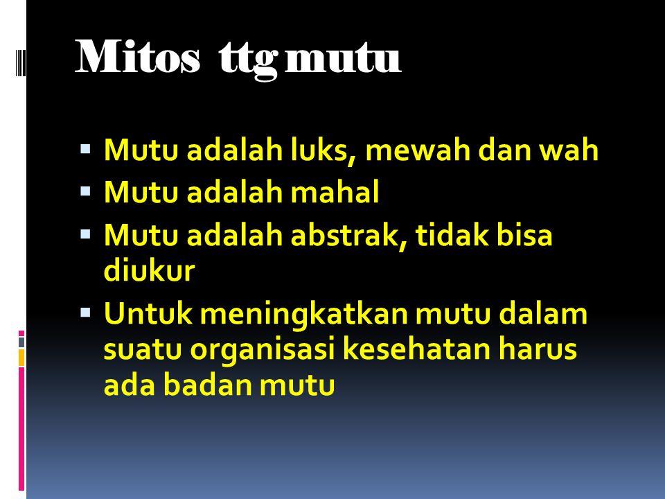 Mitos ttg mutu Mutu adalah luks, mewah dan wah Mutu adalah mahal