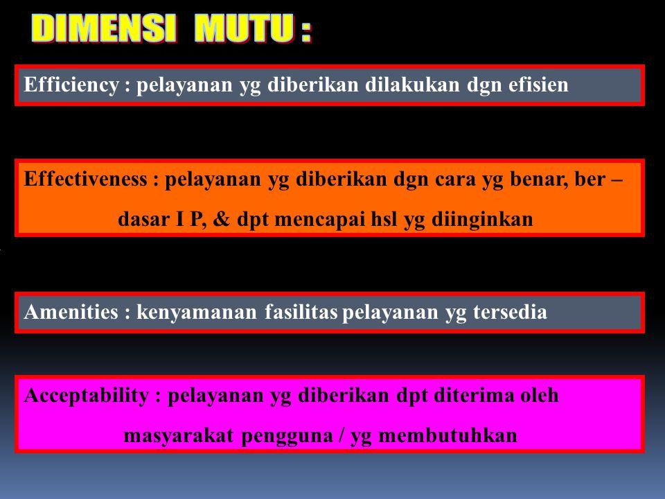 Efficiency : pelayanan yg diberikan dilakukan dgn efisien