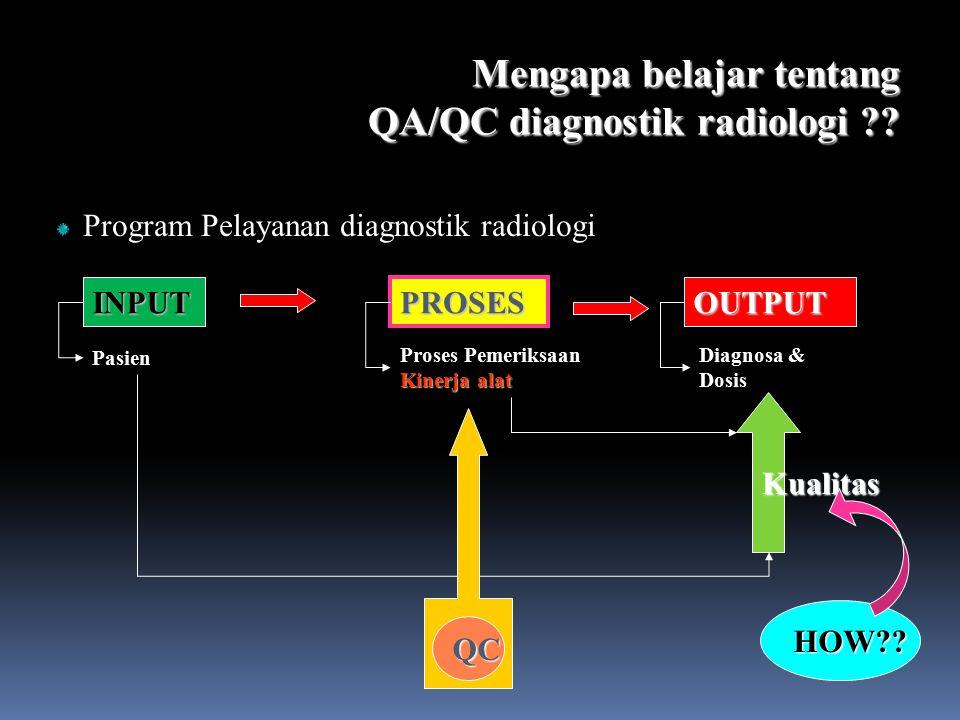 Mengapa belajar tentang QA/QC diagnostik radiologi