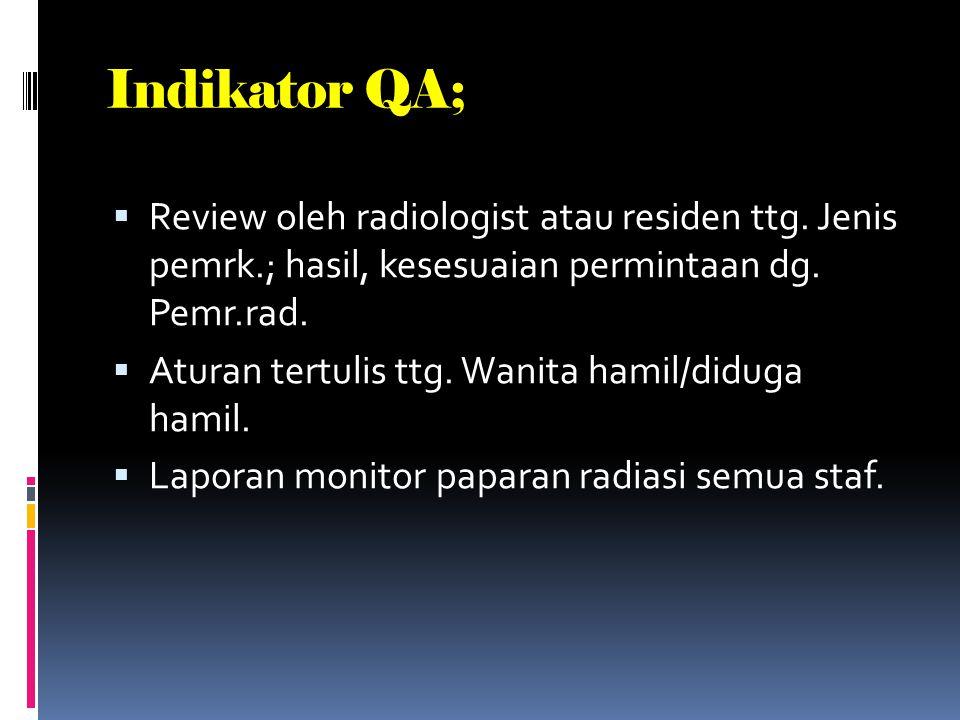 Indikator QA; Review oleh radiologist atau residen ttg. Jenis pemrk.; hasil, kesesuaian permintaan dg. Pemr.rad.