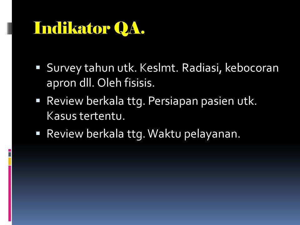 Indikator QA. Survey tahun utk. Keslmt. Radiasi, kebocoran apron dll. Oleh fisisis. Review berkala ttg. Persiapan pasien utk. Kasus tertentu.