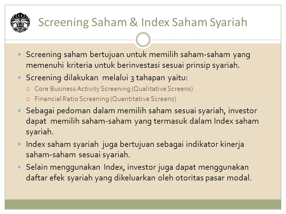 Screening Saham & Index Saham Syariah