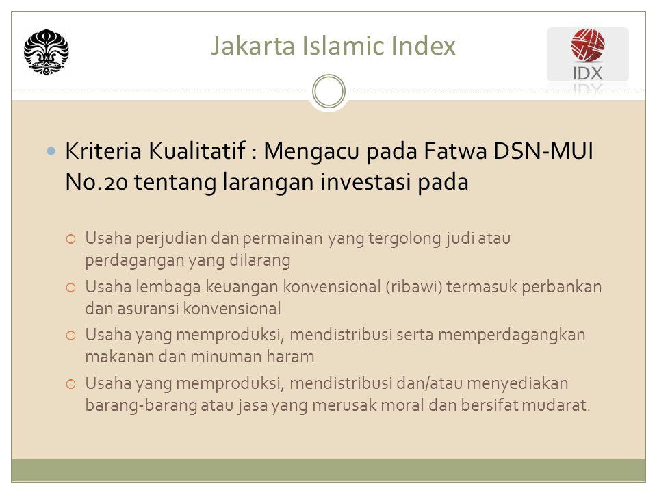 Jakarta Islamic Index Kriteria Kualitatif : Mengacu pada Fatwa DSN-MUI No.20 tentang larangan investasi pada.