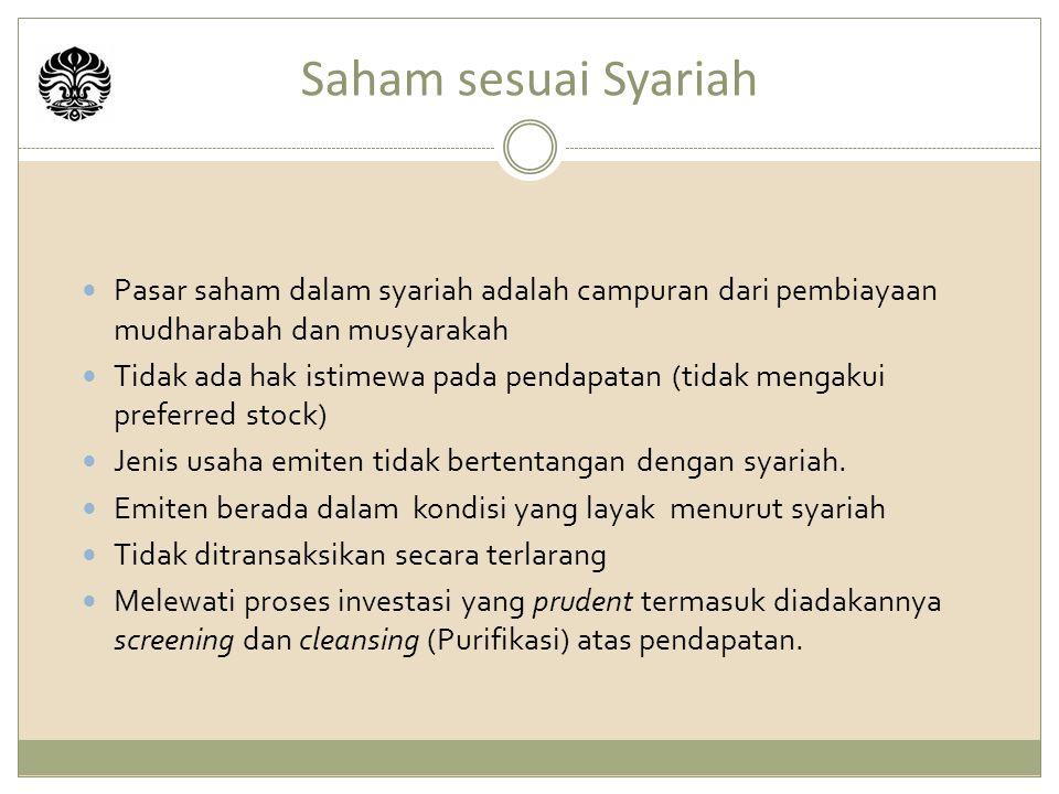 Saham sesuai Syariah Pasar saham dalam syariah adalah campuran dari pembiayaan mudharabah dan musyarakah.