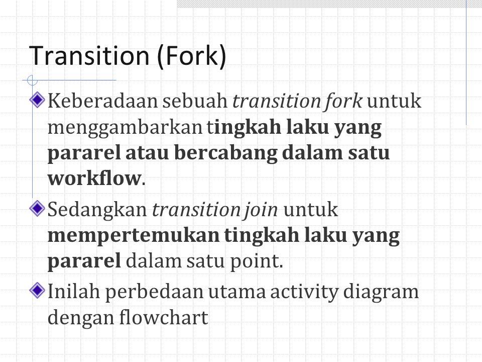 Transition (Fork) Keberadaan sebuah transition fork untuk menggambarkan tingkah laku yang pararel atau bercabang dalam satu workflow.