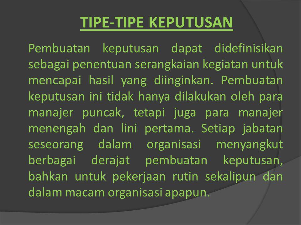 TIPE-TIPE KEPUTUSAN