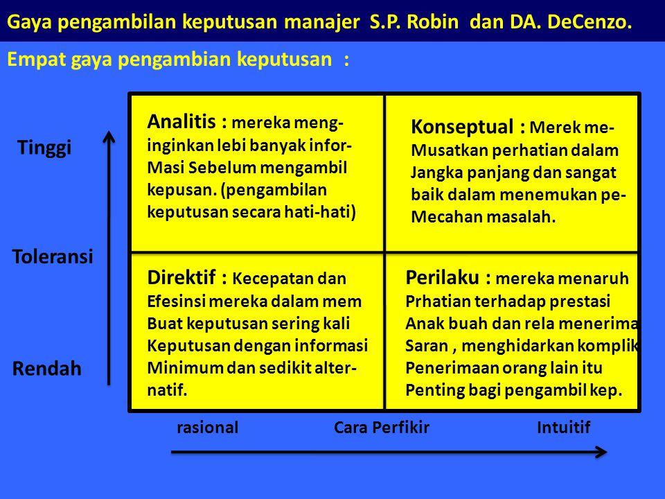 Gaya pengambilan keputusan manajer S.P. Robin dan DA. DeCenzo.
