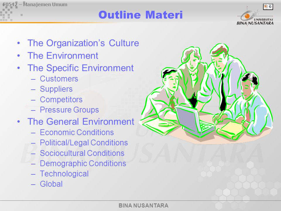 Outline Materi The Organization's Culture The Environment