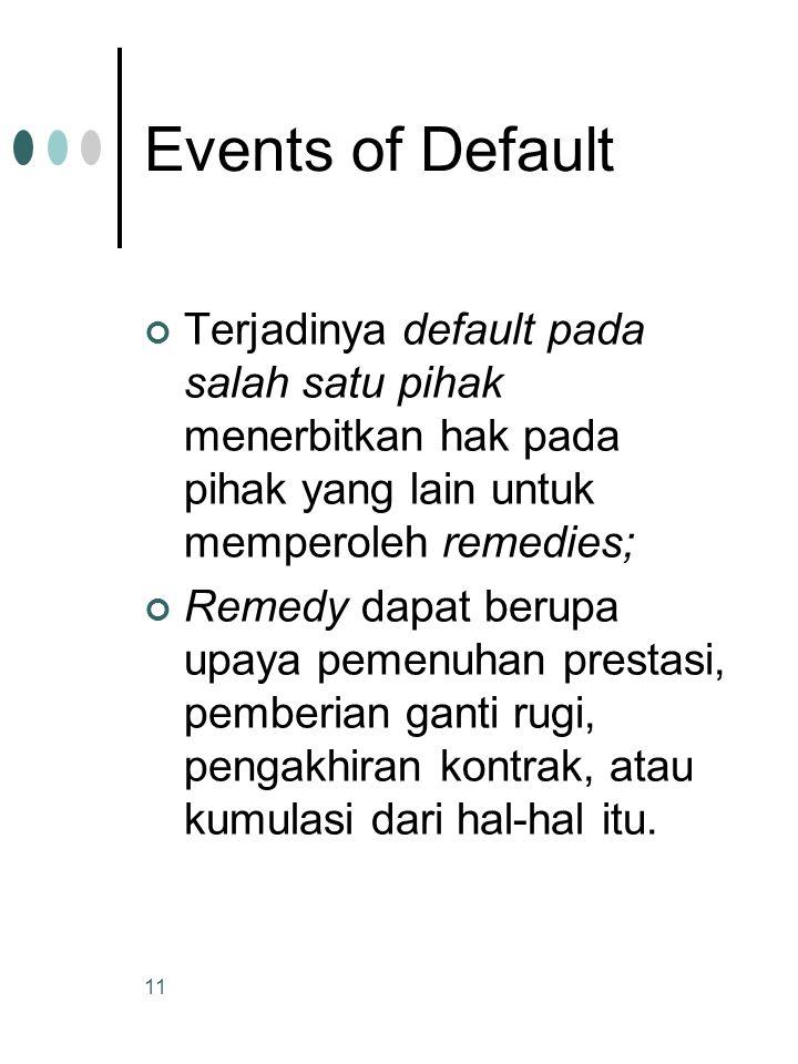 Events of Default Terjadinya default pada salah satu pihak menerbitkan hak pada pihak yang lain untuk memperoleh remedies;