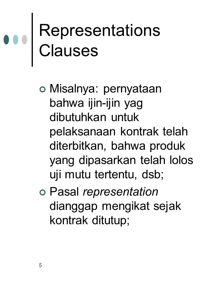 Representations Clauses