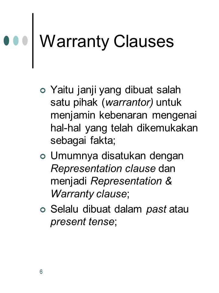 Warranty Clauses