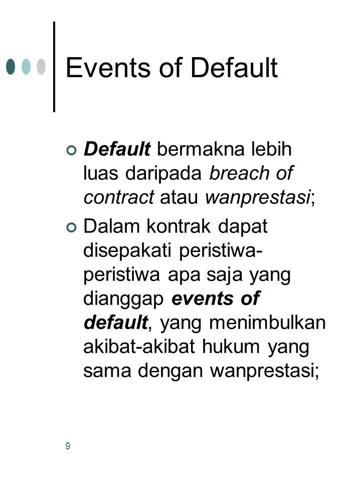 Events of Default Default bermakna lebih luas daripada breach of contract atau wanprestasi;