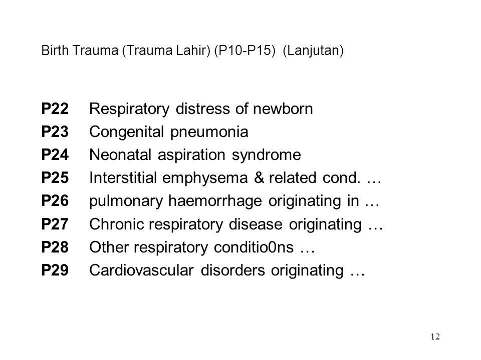 Birth Trauma (Trauma Lahir) (P10-P15) (Lanjutan)