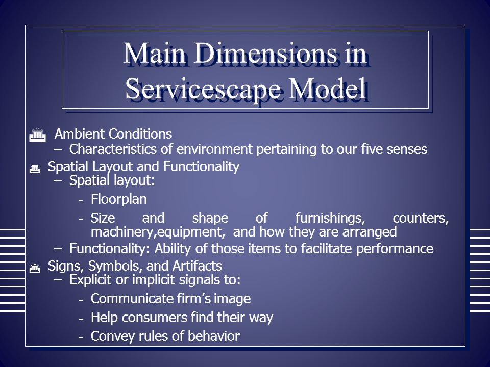 Main Dimensions in Servicescape Model