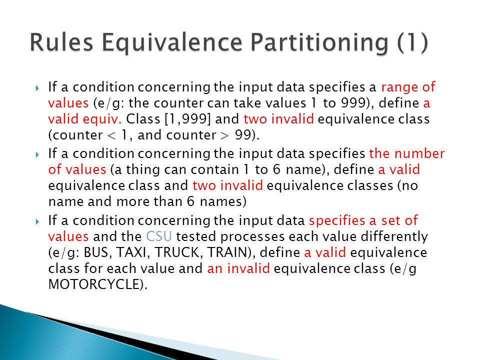 Rules Equivalence Partitioning (1)