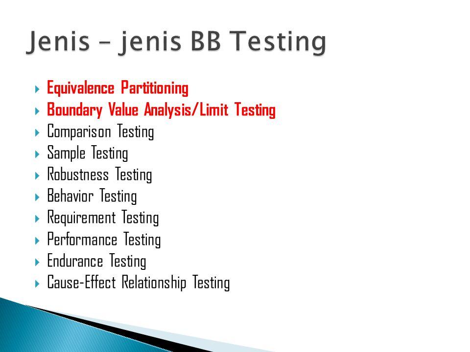 Jenis – jenis BB Testing