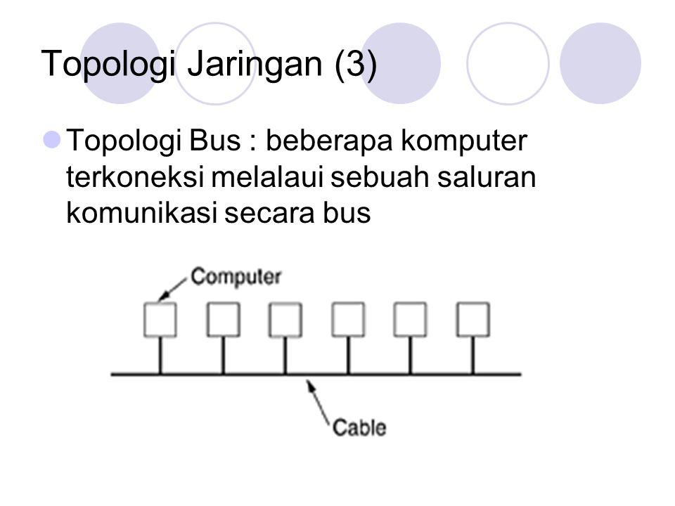 Topologi Jaringan (3) Topologi Bus : beberapa komputer terkoneksi melalaui sebuah saluran komunikasi secara bus.