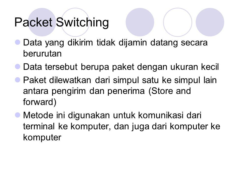 Packet Switching Data yang dikirim tidak dijamin datang secara berurutan. Data tersebut berupa paket dengan ukuran kecil.