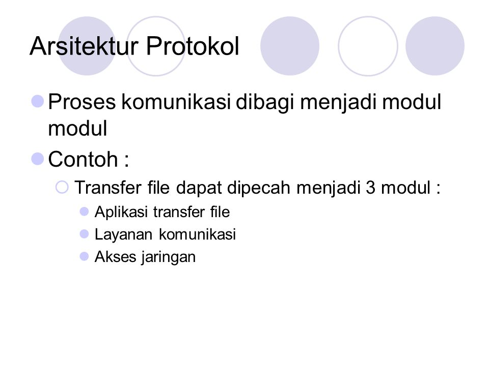 Arsitektur Protokol Proses komunikasi dibagi menjadi modul modul