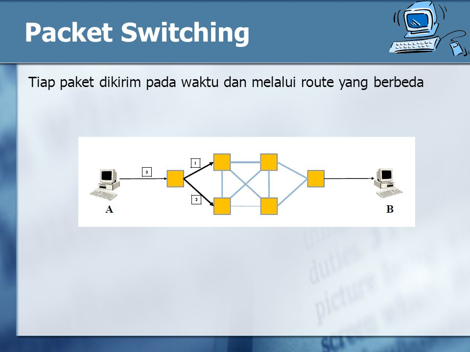 Packet Switching Tiap paket dikirim pada waktu dan melalui route yang berbeda