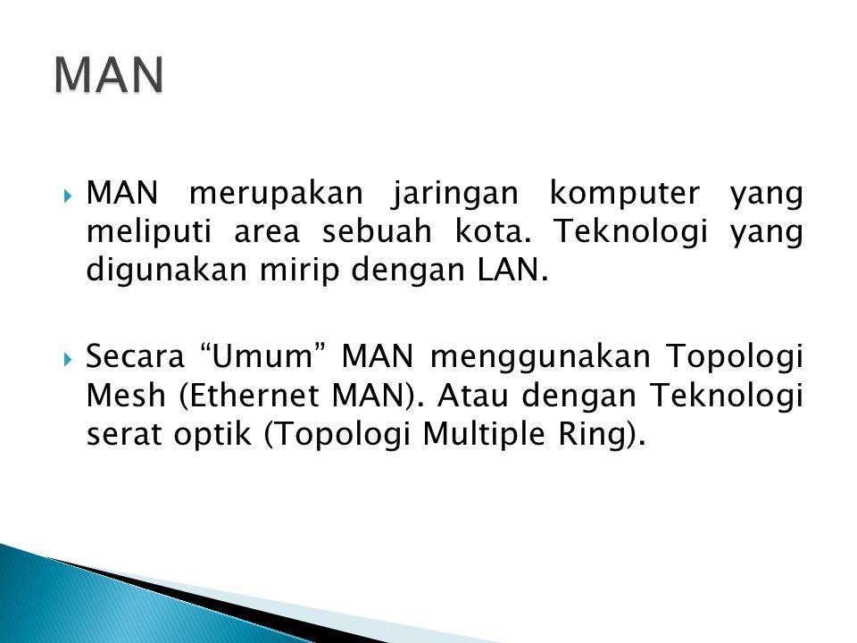 MAN MAN merupakan jaringan komputer yang meliputi area sebuah kota. Teknologi yang digunakan mirip dengan LAN.