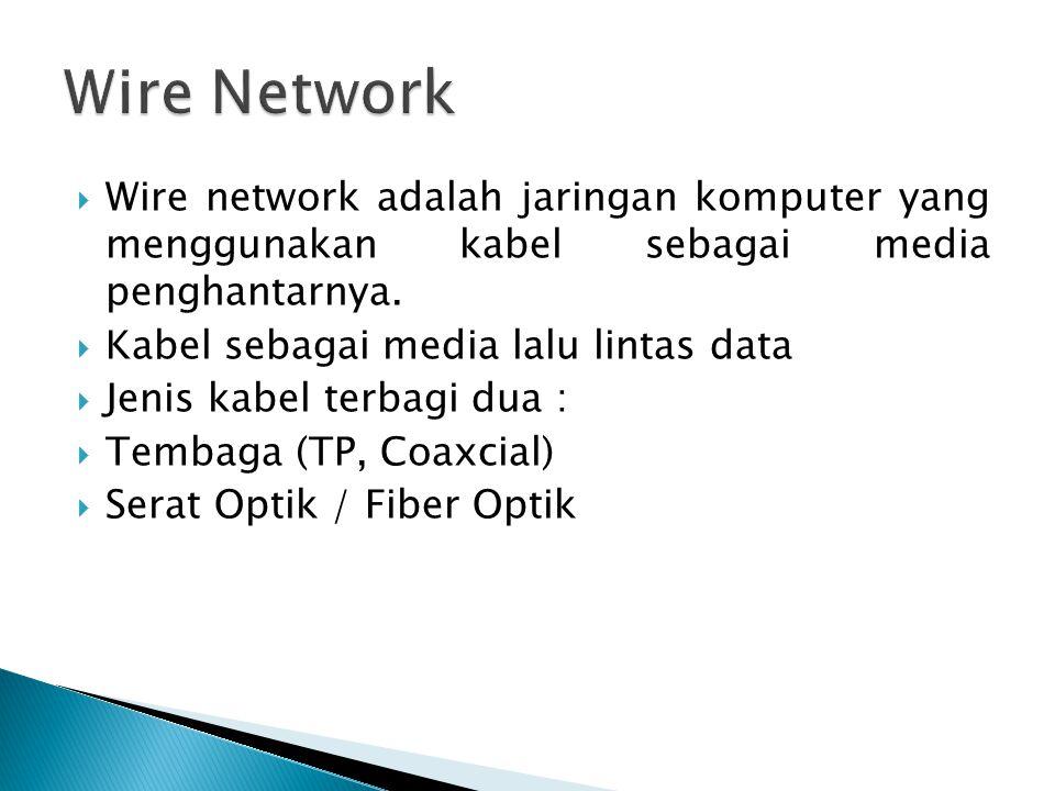 Wire Network Wire network adalah jaringan komputer yang menggunakan kabel sebagai media penghantarnya.