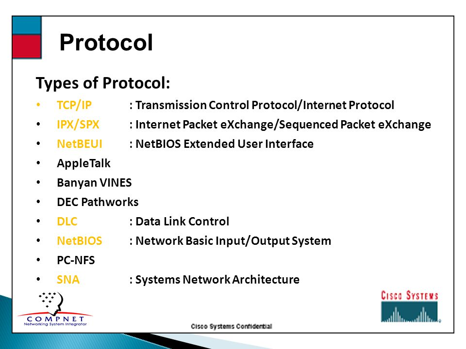 Protocol Types of Protocol: