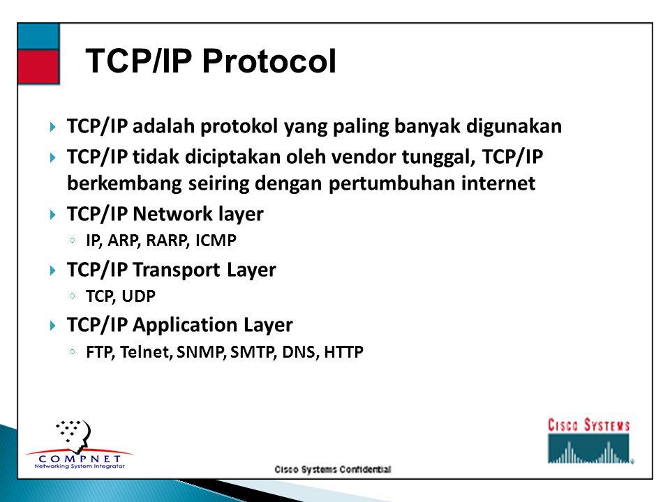TCP/IP Protocol TCP/IP adalah protokol yang paling banyak digunakan