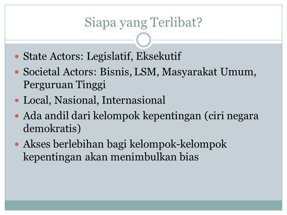 Siapa yang Terlibat State Actors: Legislatif, Eksekutif