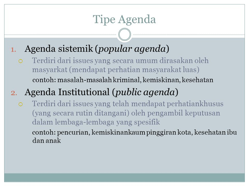 Tipe Agenda Agenda sistemik (popular agenda)