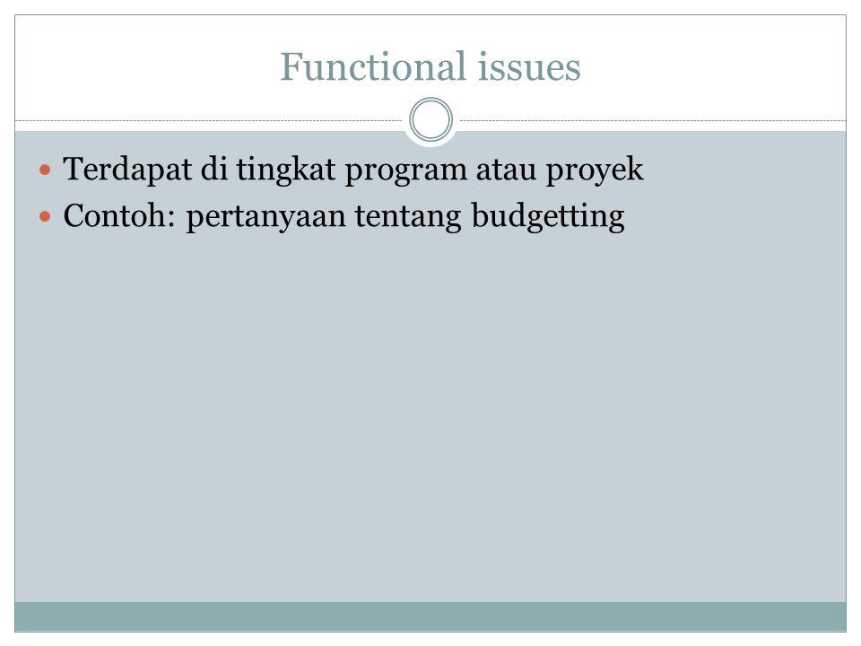 Functional issues Terdapat di tingkat program atau proyek