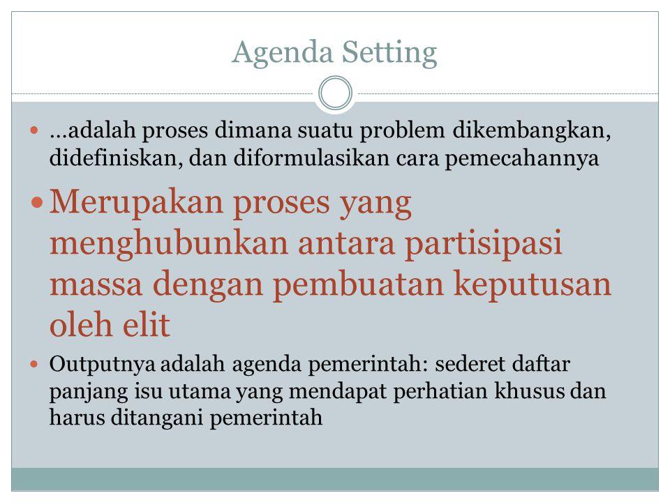 Agenda Setting …adalah proses dimana suatu problem dikembangkan, didefiniskan, dan diformulasikan cara pemecahannya.