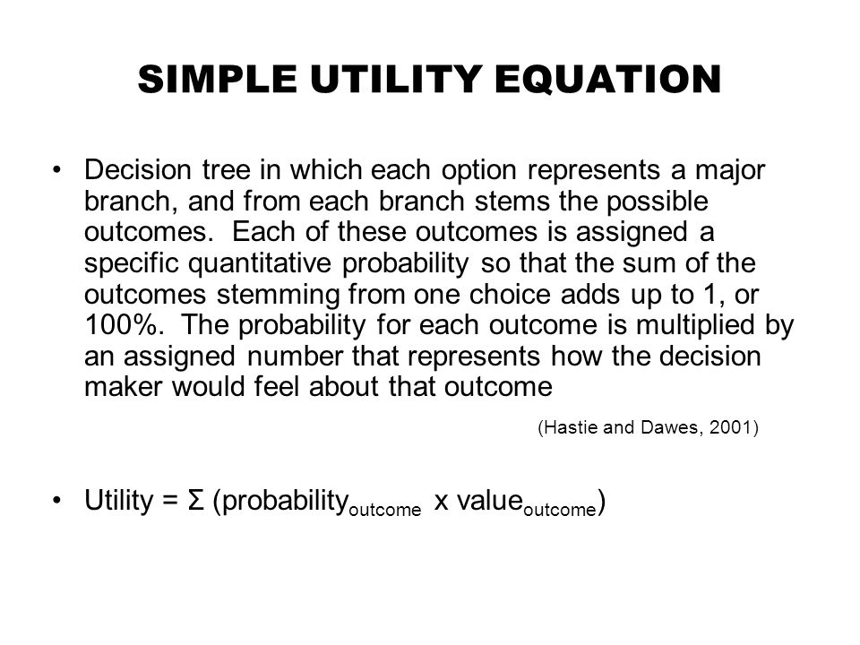 SIMPLE UTILITY EQUATION