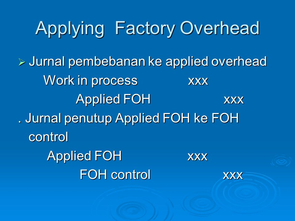 Applying Factory Overhead
