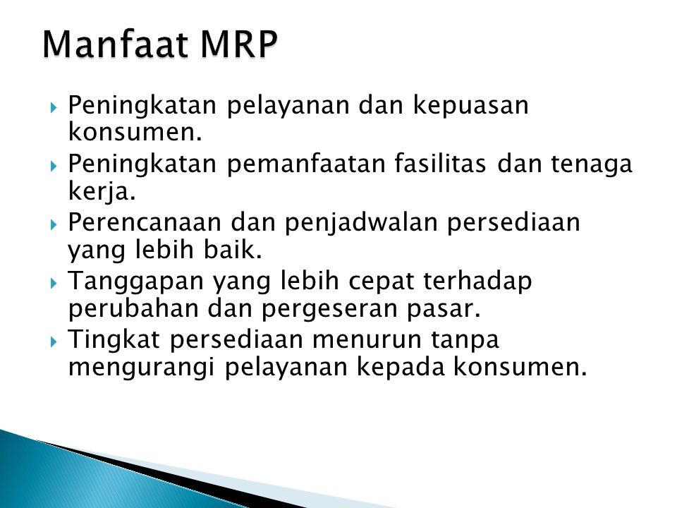 Manfaat MRP Peningkatan pelayanan dan kepuasan konsumen.