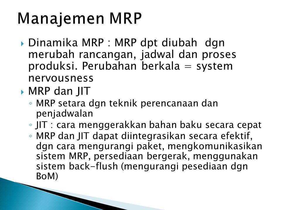 Manajemen MRP Dinamika MRP : MRP dpt diubah dgn merubah rancangan, jadwal dan proses produksi. Perubahan berkala = system nervousness.