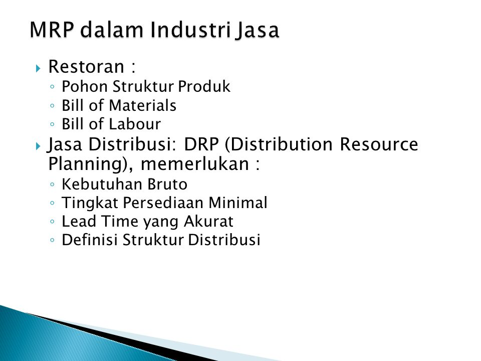 MRP dalam Industri Jasa
