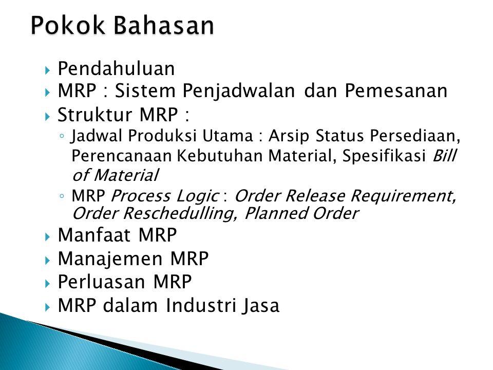 Pokok Bahasan Pendahuluan MRP : Sistem Penjadwalan dan Pemesanan