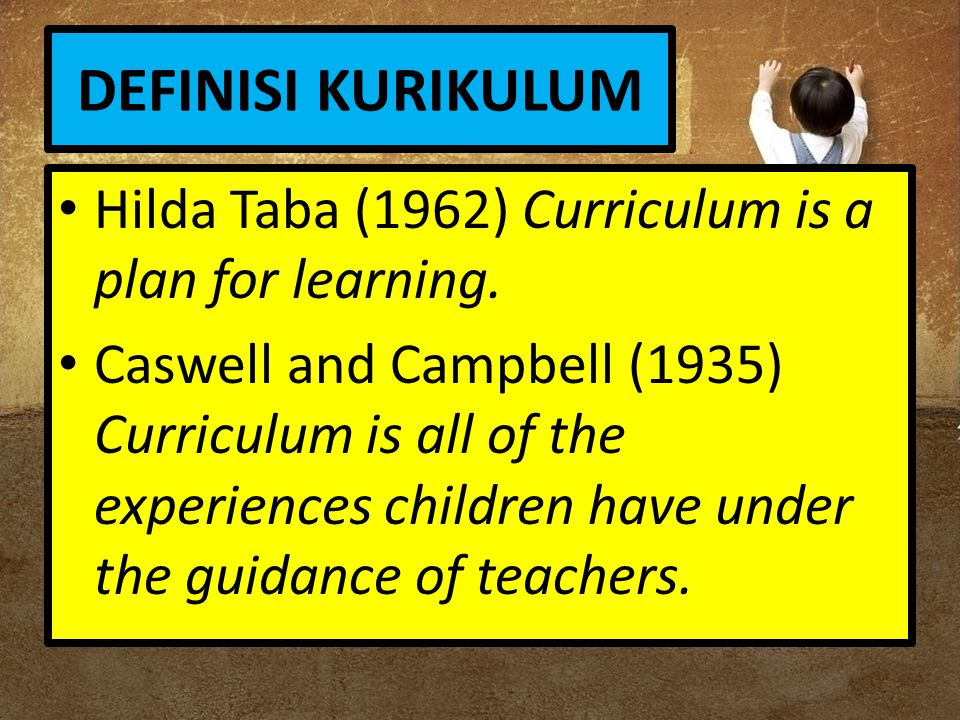 DEFINISI KURIKULUM Hilda Taba (1962) Curriculum is a plan for learning.