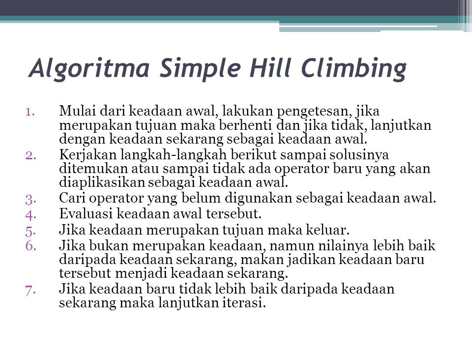 Algoritma Simple Hill Climbing