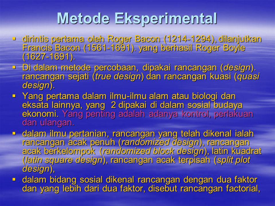 Metode Eksperimental dirintis pertama oleh Roger Bacon (1214-1294), dilanjutkan Francis Bacon (1561-1691). yang berhasil Roger Boyle (1627-1691).
