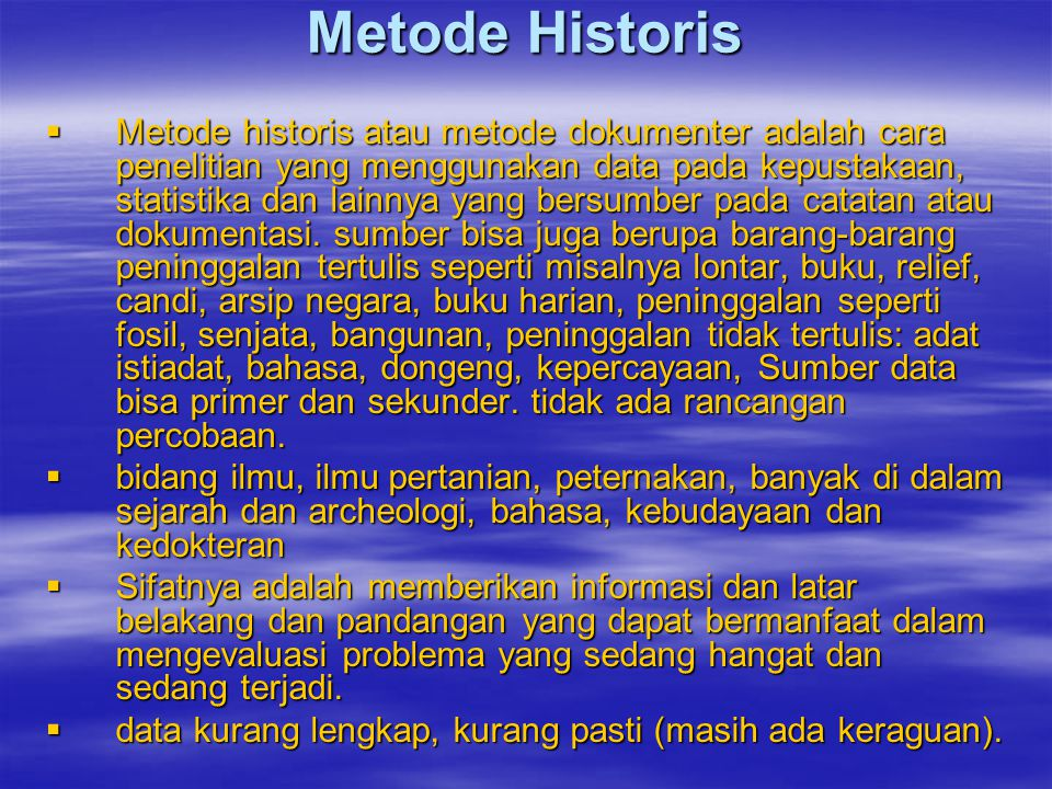 Metode Historis